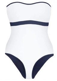 HEIDI KLEIN Reversible Bandeau One Piece - White & Navy