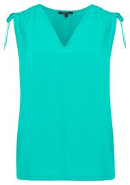 TOUPY Tie Shoulder Silk Top - Arsenic