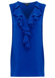 TOUPY Ruffle Neck Silk Top - Blue Cobalt