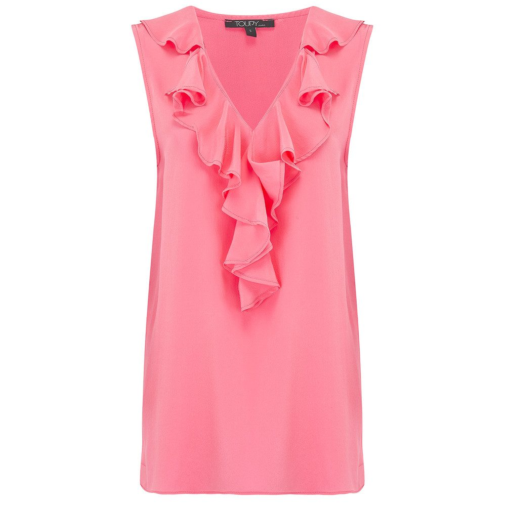 Ruffle Neck Silk Top - Sorbet