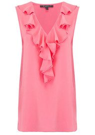 TOUPY Ruffle Neck Silk Top - Sorbet