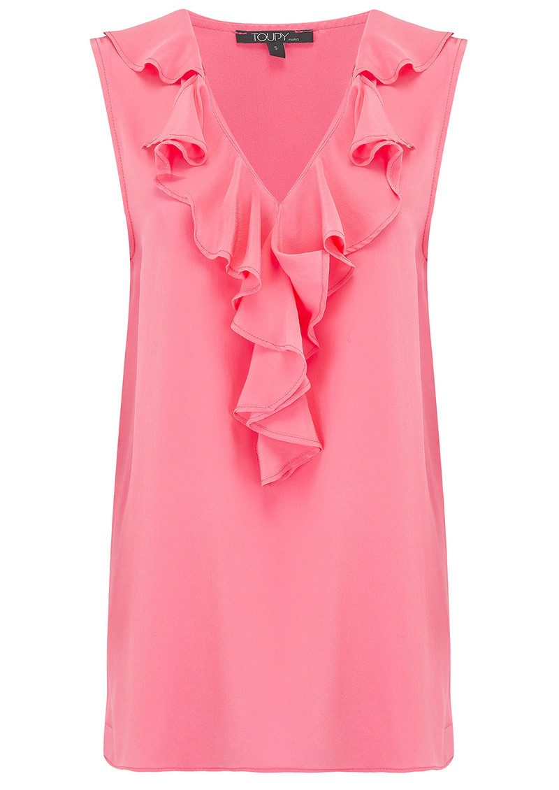 Ruffle Neck Silk Top - Sorbet main image