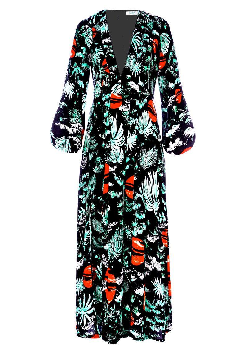 RIXO London Camellia Dress - Green Oriental Sky main image
