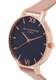 Olivia Burton Big Dial Navy Dial Watch - Dusty Pink & Rose Gold