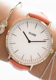 CLUSE La Boheme Rose Gold Watch - White & Flamingo