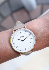 CLUSE La Boheme Rose Gold Watch - White & Hazelnut