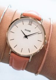 CLUSE Minuit Rose Gold Watch - White & Flamingo