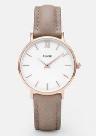 CLUSE Minuit Rose Gold Watch - White & Hazelnut