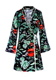 RIXO London Iris Wrap Silk Dress - Green Oriental Sky