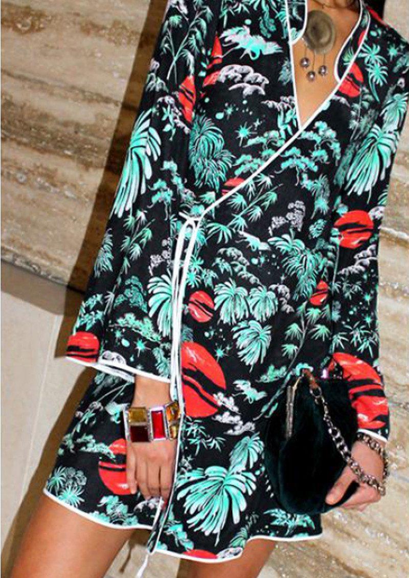 RIXO London Iris Wrap Silk Dress - Green Oriental Sky main image