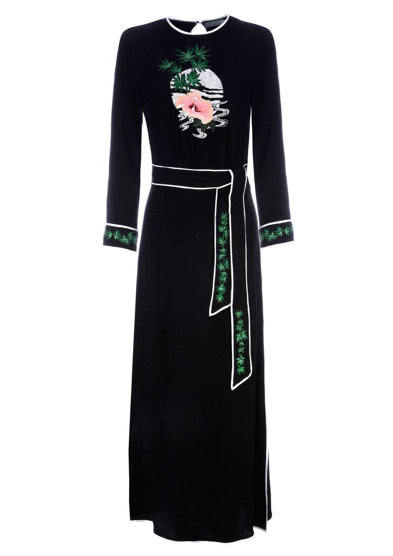 RIXO London Alice Embroidered Midi Dress - Black main image