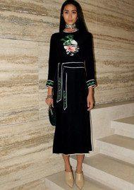 RIXO London Alice Embroidered Midi Dress - Black