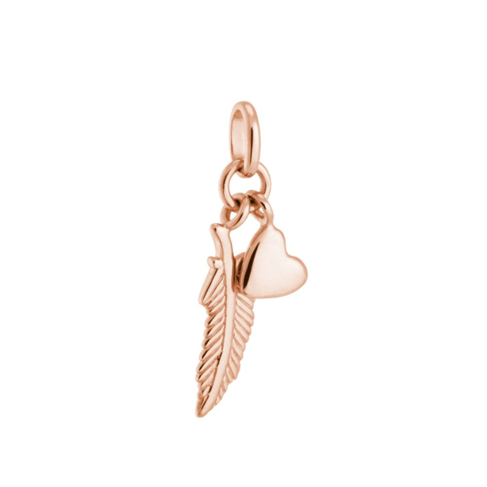 Bespoke Feather & Heart Double Charm - Rose Gold