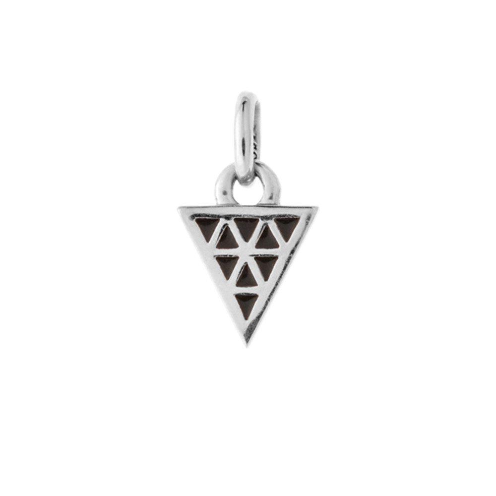 Bespoke Black Enamel Triangle Charm - Silver