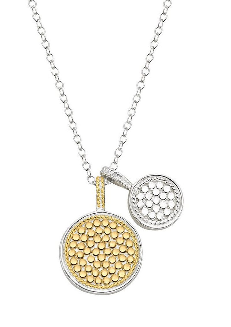 ANNA BECK Reversible Double Disc Charm Necklace - Gold & Silver main image