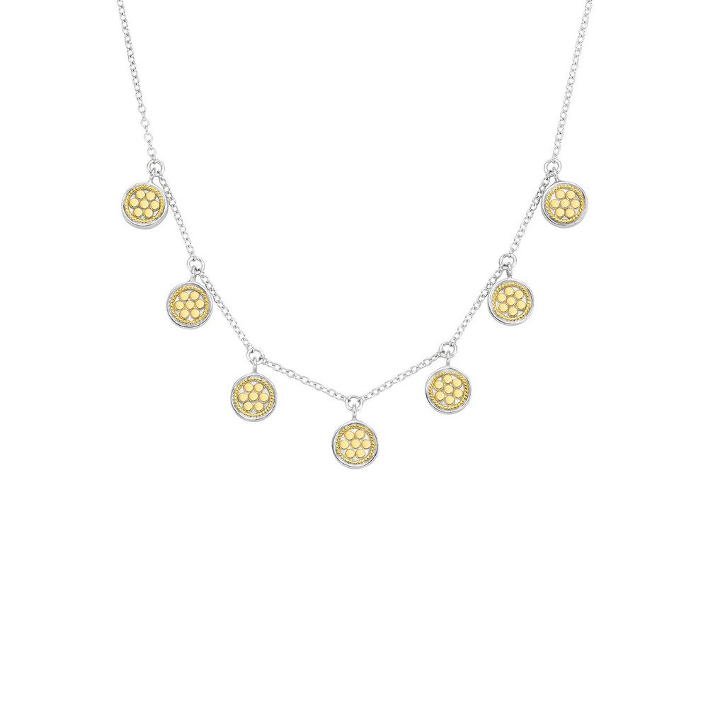 Mini Disc Charm Necklace - Gold & Silver