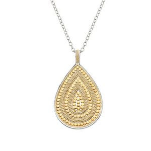 Beaded Teardrop Necklace - Gold & Silver