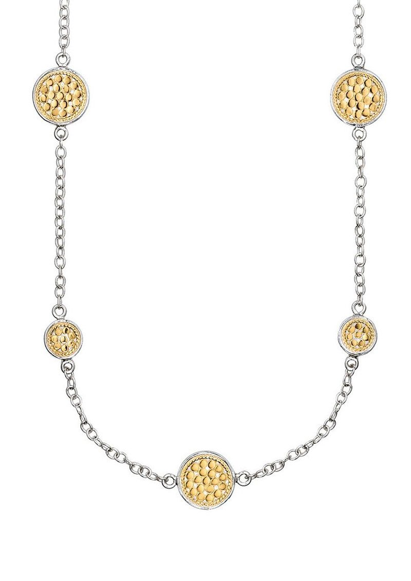 Multi Disc Station Necklace - Gold & Silver main image
