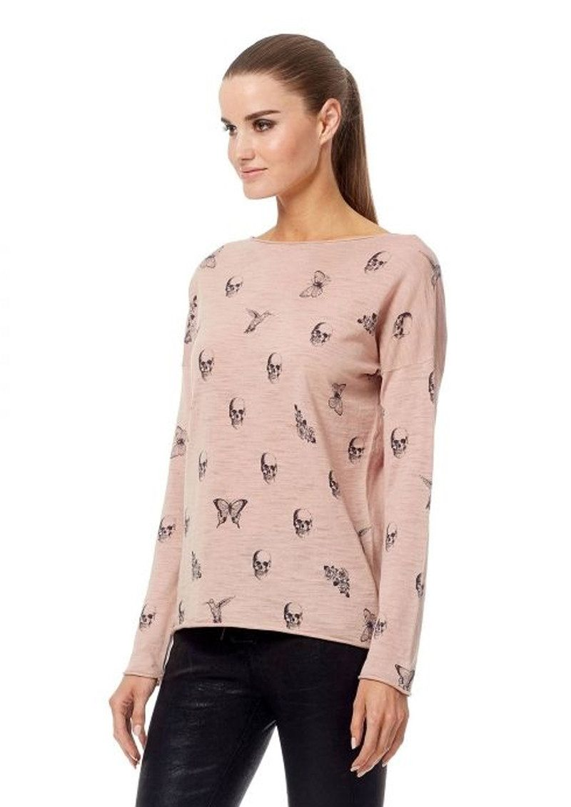 360 SWEATER Skull Cashmere Dru Cotton Sweater - Rose Quartz & Charcoal main image