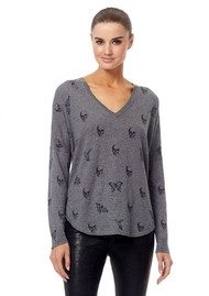 360 SWEATER Skull Cashmere Zahara Cotton Sweater - Heather Grey & Black