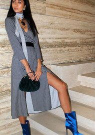 RIXO London Stella Neck Tie Midi Dress - Mini Star