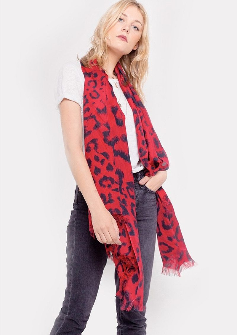Lily and Lionel Kitty Leopard Silk Scarf - Cherry Red main image