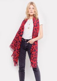 Lily and Lionel Kitty Leopard Silk Scarf - Cherry Red