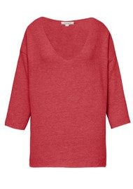 Great Plains Kitten Play V Neck Top - Redcurrant Pink