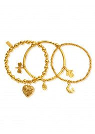 ChloBo Stack Of 3 Happiness Bracelets - Gold