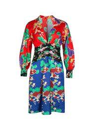RIXO London Alanna Mini Blouson Sleeve Dress - Mixed Cherry Blossom