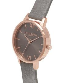 Olivia Burton Midi Dial Grey Dial Watch - Dark Grey & Rose Gold