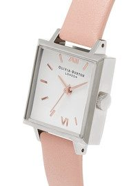 Olivia Burton Midi Square Dial Watch - Dusty Pink, Silver & Rose Gold