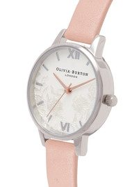 Olivia Burton Lace Detail Watch - Dusty Pink, Silver & Rose Gold