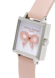 Olivia Burton 3D Vintage Bow Watch - Nude Peach & Silver