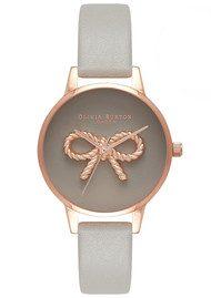 Olivia Burton 3D Vintage Bow Watch - Grey & Rose Gold