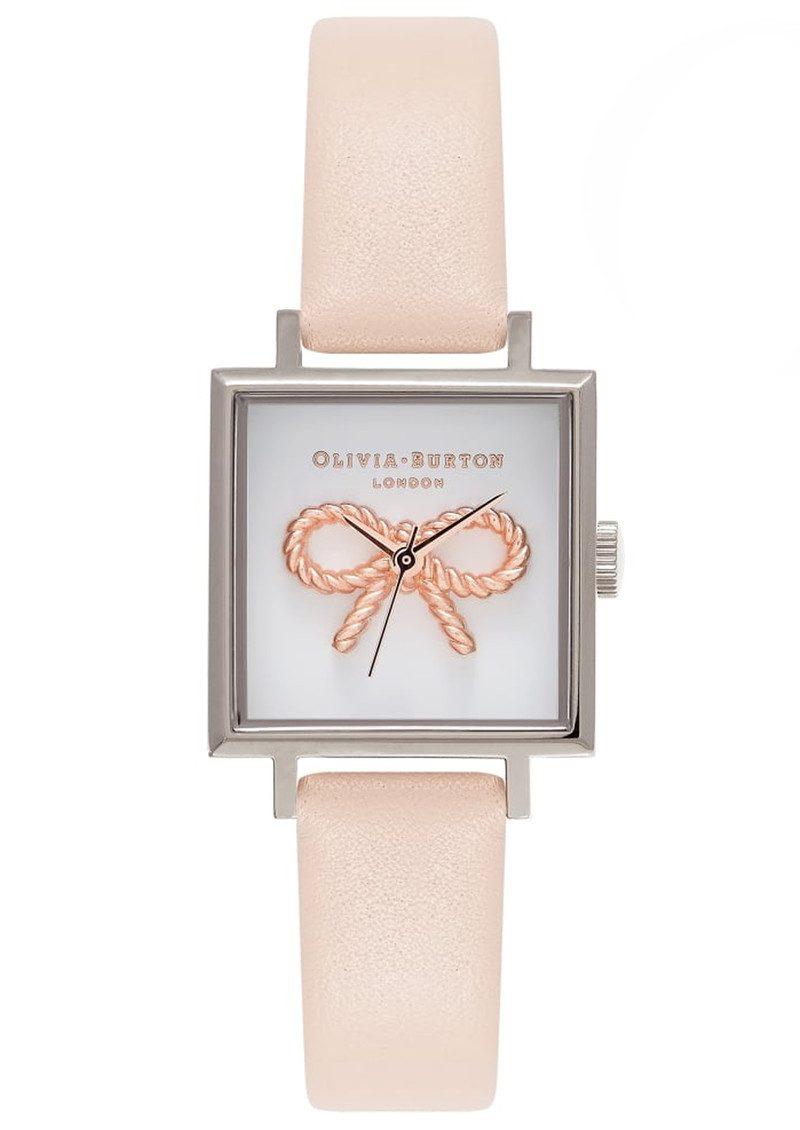 Olivia Burton 3D Vintage Bow Watch - Nude Peach & Silver main image