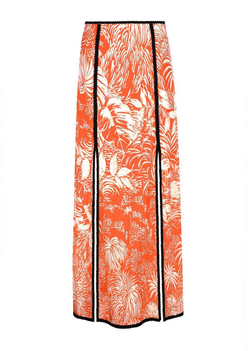 RIXO London Thalia Skirt - Red Oriental Jungle main image