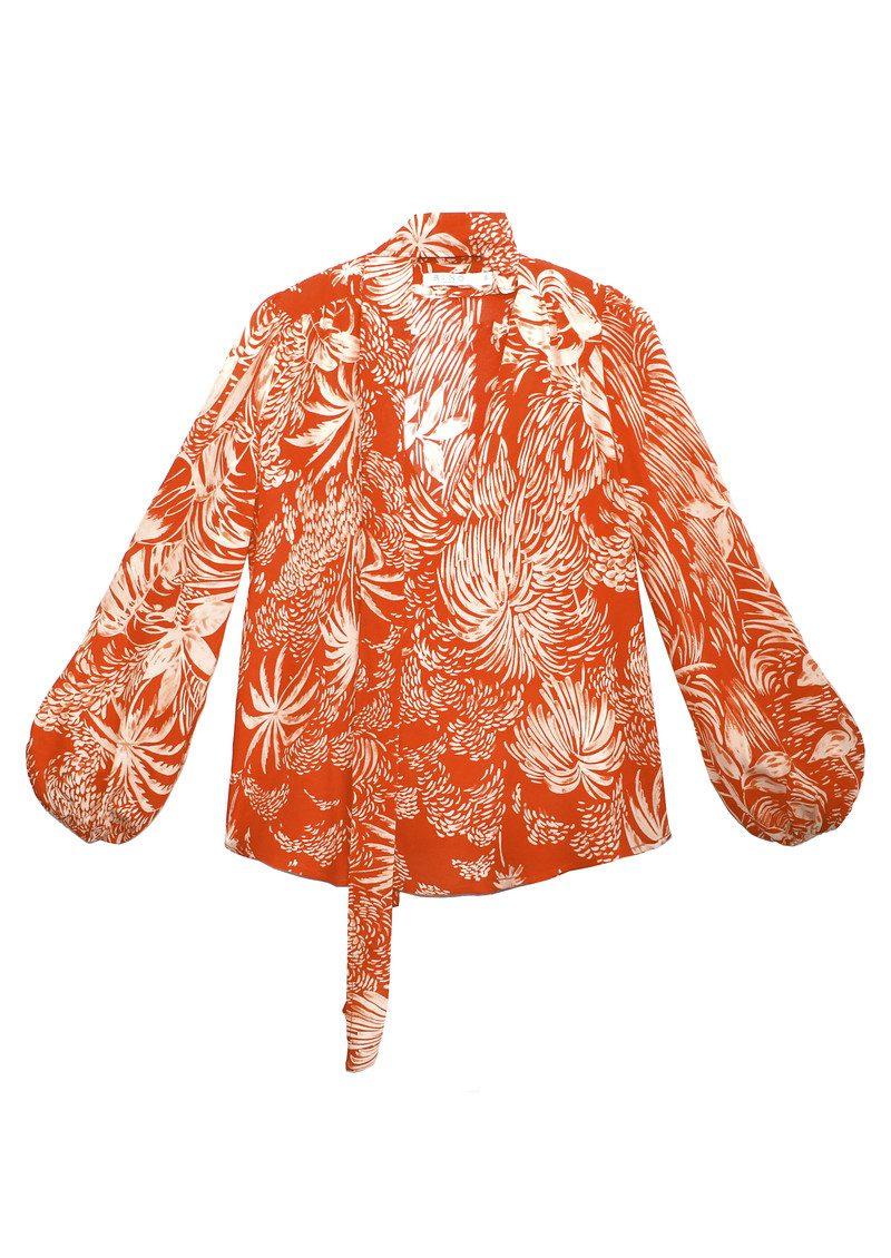 RIXO London Moss Blouse - Red Oriental Jungle main image