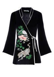 RIXO London Blossom Wrap Top - Black Embroidery