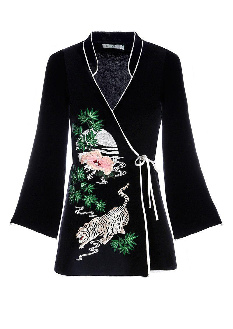 RIXO London Blossom Wrap Top - Black Embroidery main image