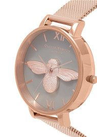 Olivia Burton 3D Bee Grey Dial Mesh Watch - Rose Gold