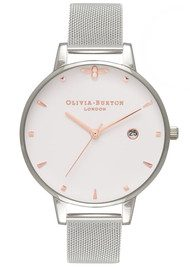 Olivia Burton Queen Bee Mesh Watch - Silver & Rose Gold