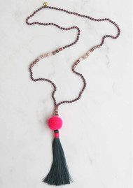 TRIBE + FABLE Hawaii Pom Pom Tassel Necklace - Pink & Grey