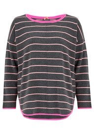 COCOA CASHMERE Striped Curved Hem Cashmere Sweater - Candy & Ash