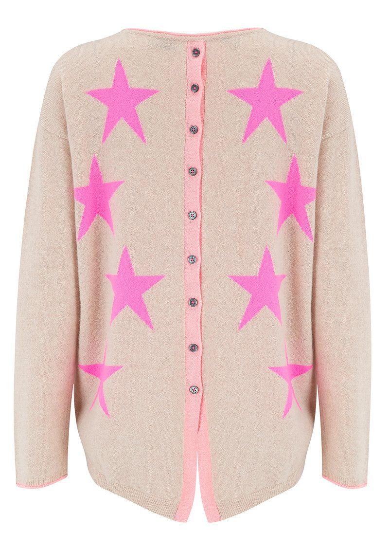 COCOA CASHMERE Star & Button Back Cashmere Sweater - Oatmeal & Peach Fizz main image