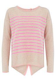 COCOA CASHMERE Star & Button Back Cashmere Sweater - Oatmeal & Peach Fizz