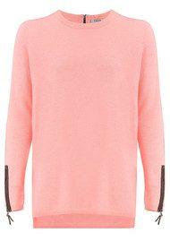COCOA CASHMERE Velvet Zip Trim Cashmere Sweater - Peach Fizz