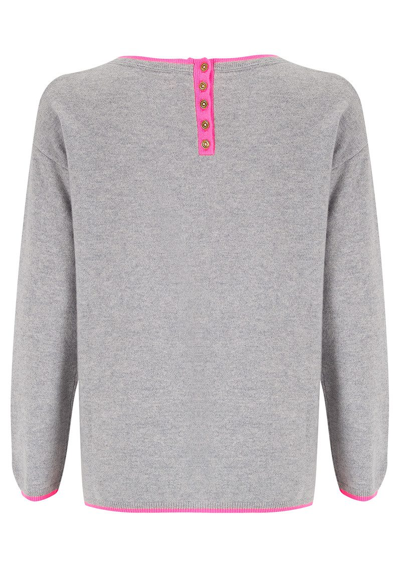 COCOA CASHMERE Pout Cashmere Sweater - Grey & Candy main image