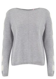COCOA CASHMERE Heart Sleeve Cashmere Sweater - Grey & Cream