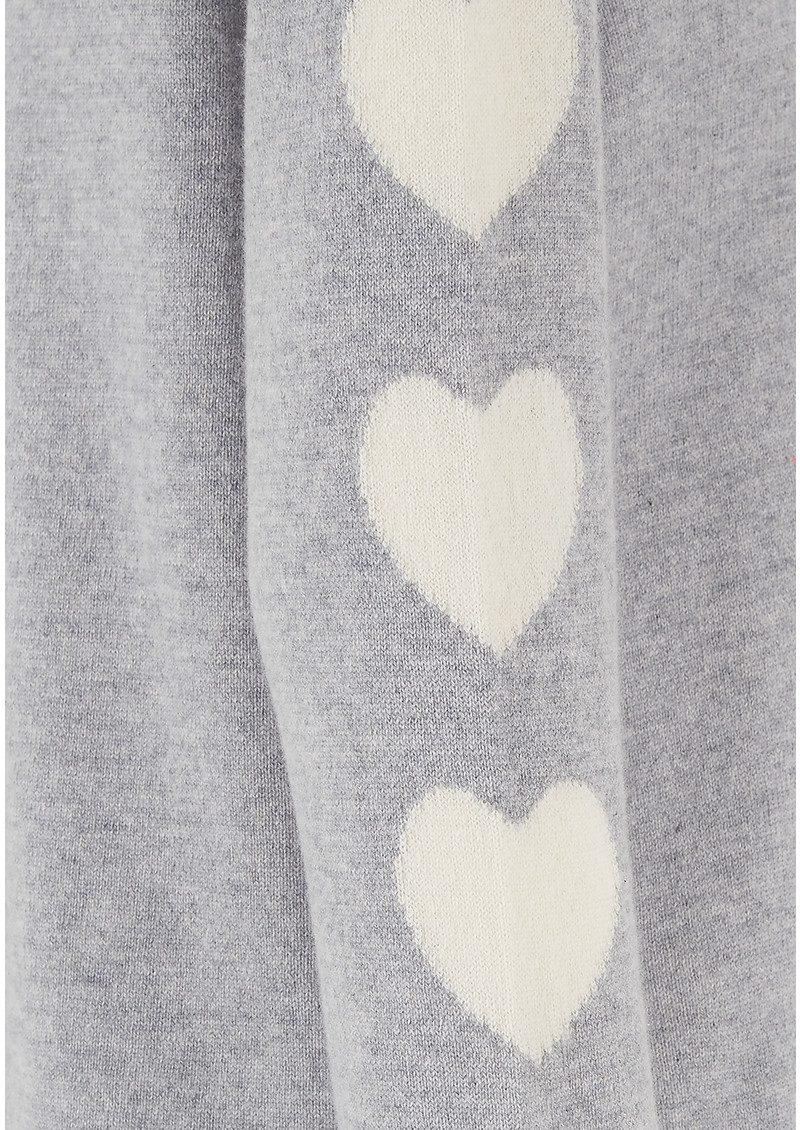 COCOA CASHMERE Heart Sleeve Cashmere Sweater - Grey & Cream main image